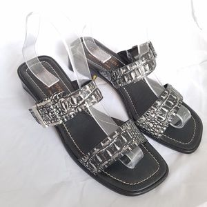 Donald J Pliner sandals Ankara silver and black